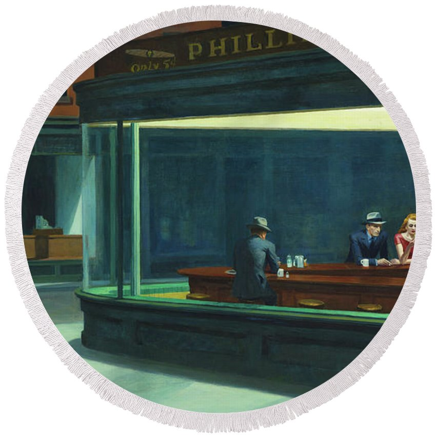 Hopper Round Beach Towel featuring the painting Nighthawks, 1942 by Edward Hopper