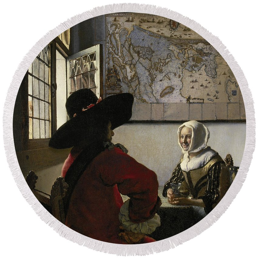 Jan Vermeer Round Beach Towel featuring the painting Officer And Laughing Girl by Jan Vermeer