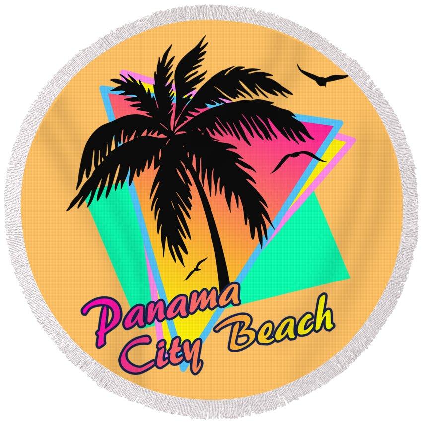 Panama Round Beach Towel featuring the digital art Panama City Beach 1 by Filip Hellman
