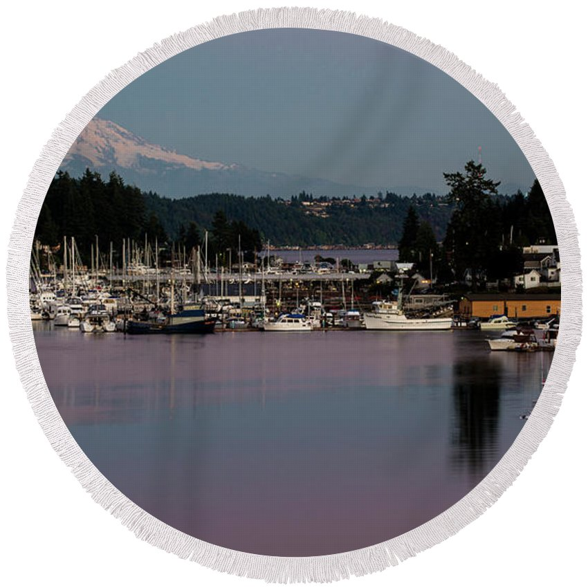Pink Purple Glow Over Mount Rainier And Gig Harbor Marina After Sunset Round Beach Towel featuring the photograph Pink Purple Glow Over Mount Rainier And Gig Harbor Marina After Sunset by Yefim Bam