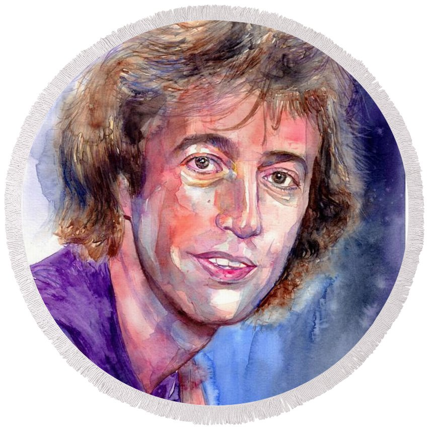 Robin Round Beach Towel featuring the painting Robin Gibb Portrait by Suzann Sines