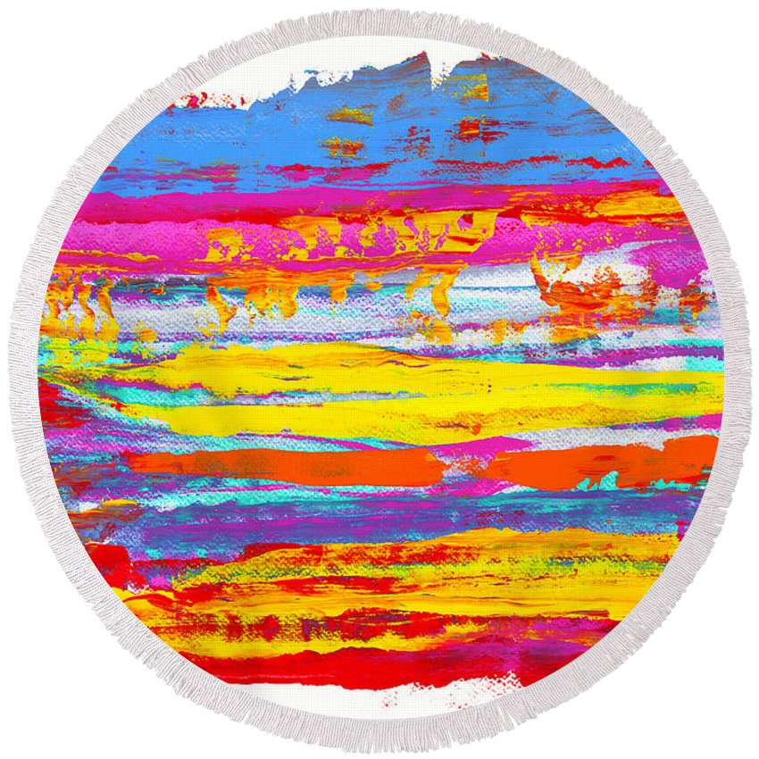 Sunrise Round Beach Towel featuring the painting Tequila Sunrise by Bjorn Sjogren