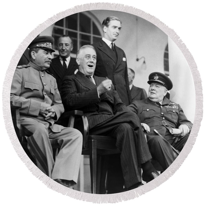 Fdr Round Beach Towel featuring the photograph The Big Three - Ww2 - Tehran Conference 1943 by War Is Hell Store
