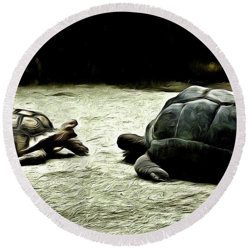 Tortoise Round Beach Towel featuring the digital art The Showdown by Steve Taylor