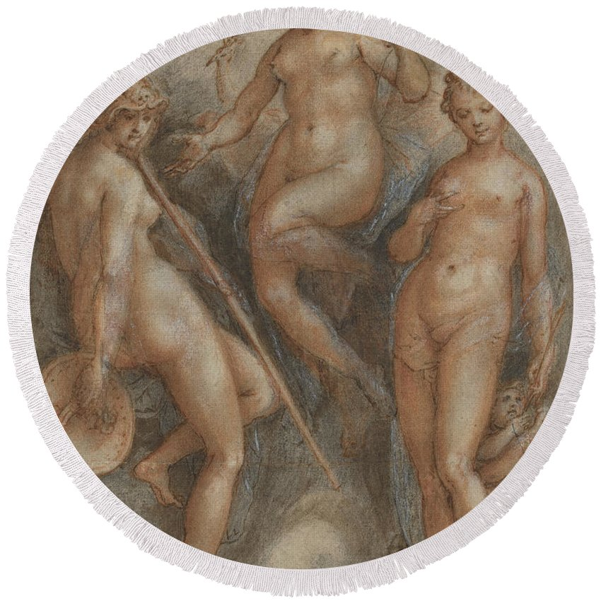 Mythology Round Beach Towel featuring the drawing Three Goddesses Minerva, Juno And Venus by Jan van der Straet