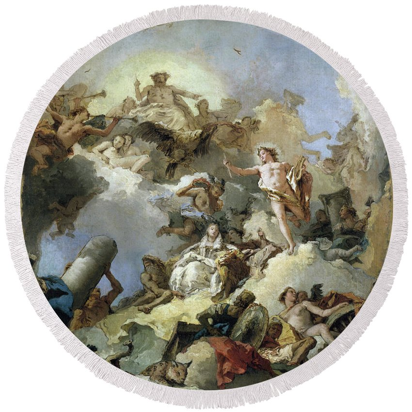 B1019 Round Beach Towel featuring the painting The Apotheosis of the Spanish Monarchy, c1765 by Giovanni Battista Tiepolo