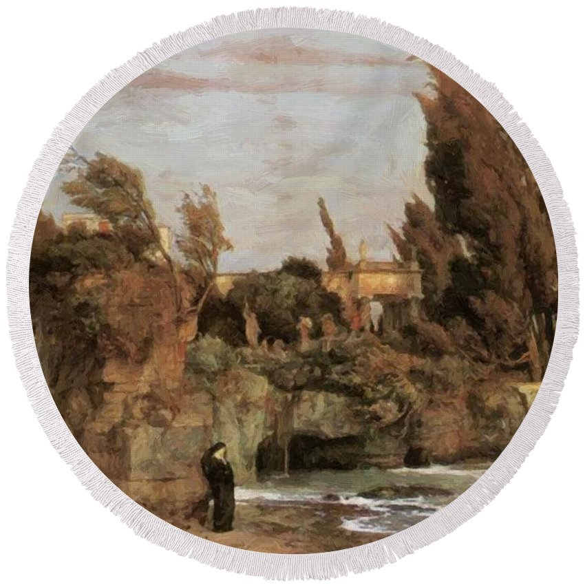 Villa Round Beach Towel featuring the painting Villa By The Sea by Bocklin Arnold