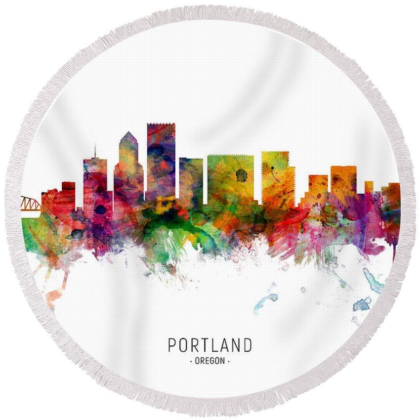 Portland Round Beach Towel featuring the digital art Portland Oregon Skyline by Michael Tompsett