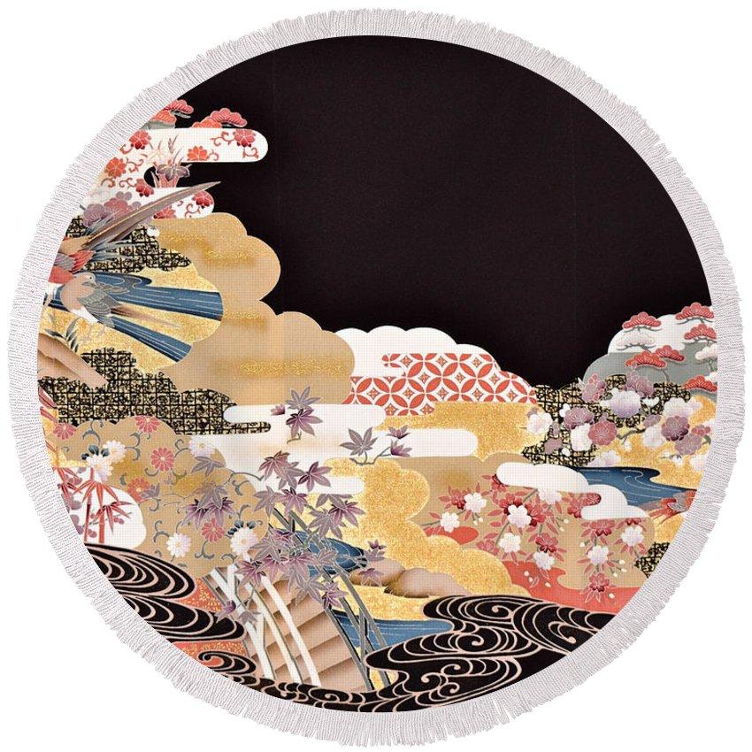Round Beach Towel featuring the digital art Spirit of Japan T65 by Miho Kanamori