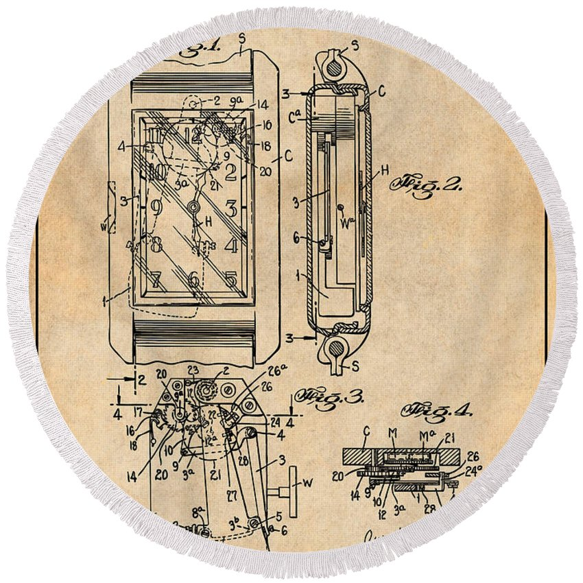 Art & Collectibles Round Beach Towel featuring the drawing 1931 Self Winding Watch Patent Print Antique Paper by Greg Edwards