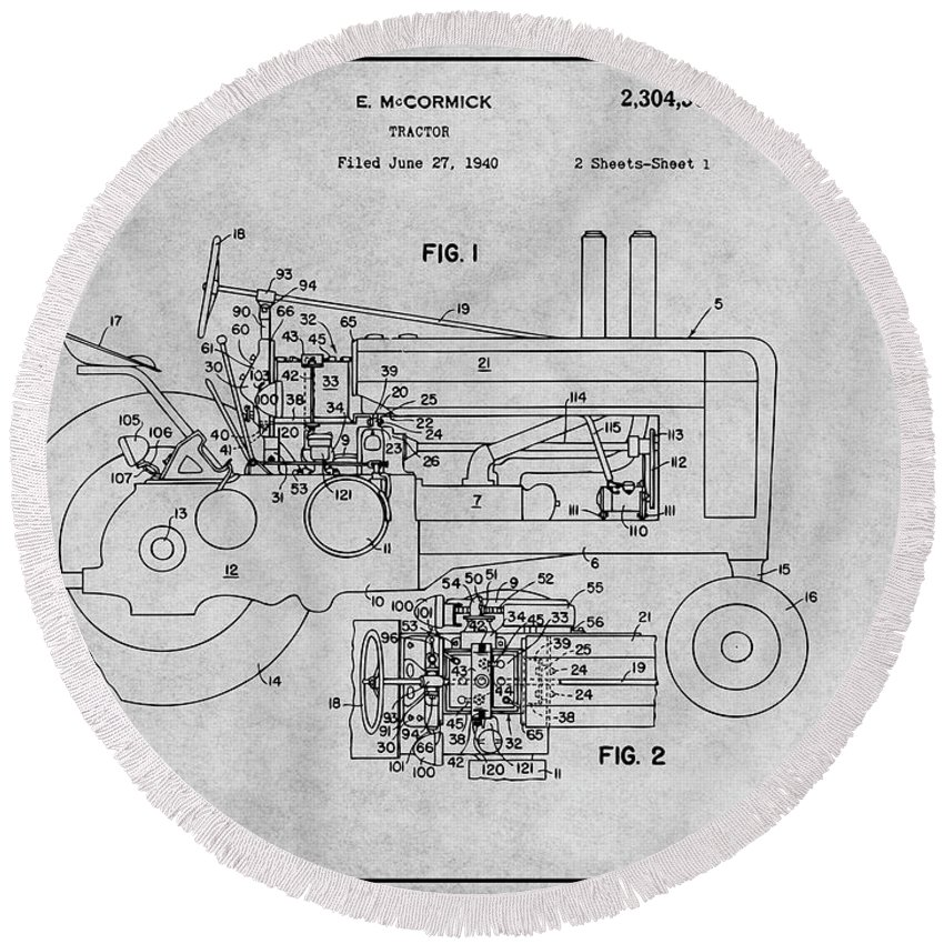 1942 John Deere Tractor Patent Print Round Beach Towel featuring the drawing 1942 John Deere Tractor Gray Patent Print by Greg Edwards