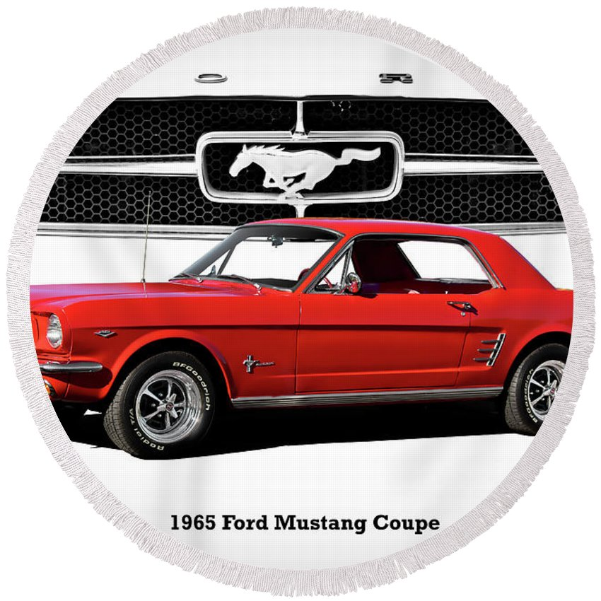 Automobile Round Beach Towel featuring the photograph 1965 Mustang 289 Coupe by Dave Koontz