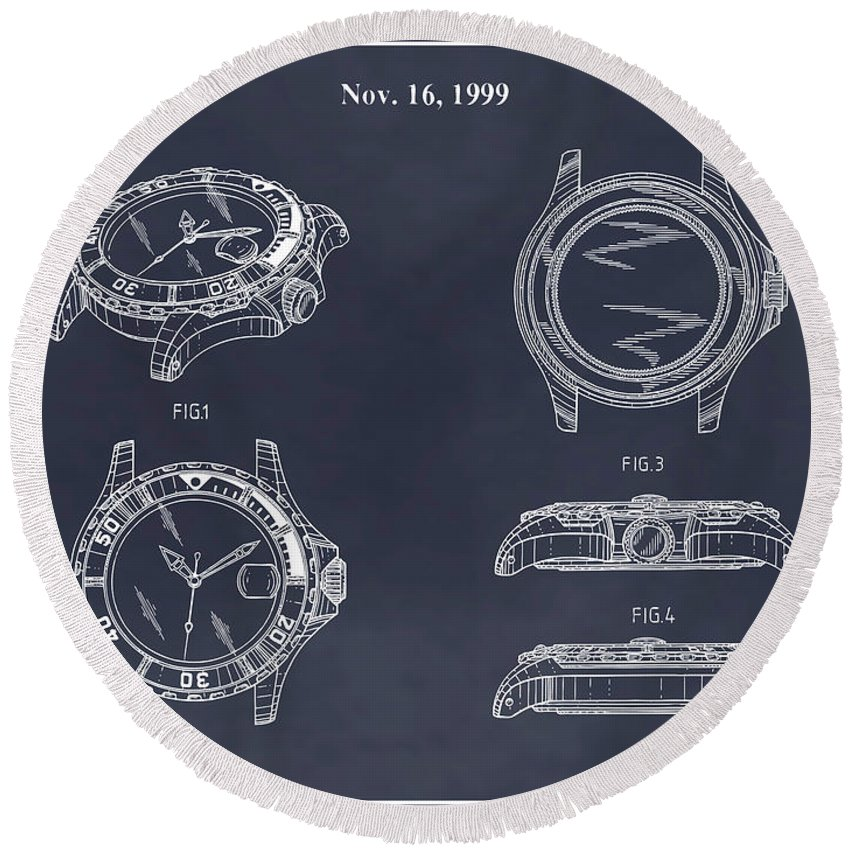 Art & Collectibles Round Beach Towel featuring the drawing 1999 Rolex Diving Watch Patent Print Blackboard by Greg Edwards