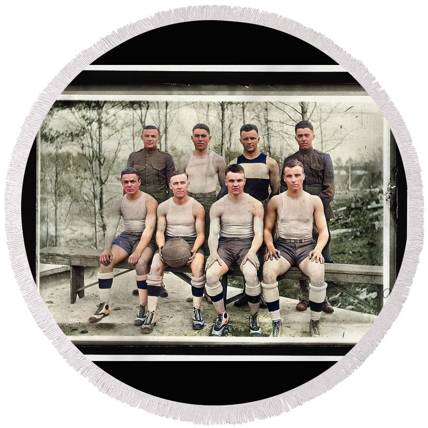 Colorized Round Beach Towel featuring the painting Baseball, Amateur And College. Quantico Team 1918 by Celestial Images