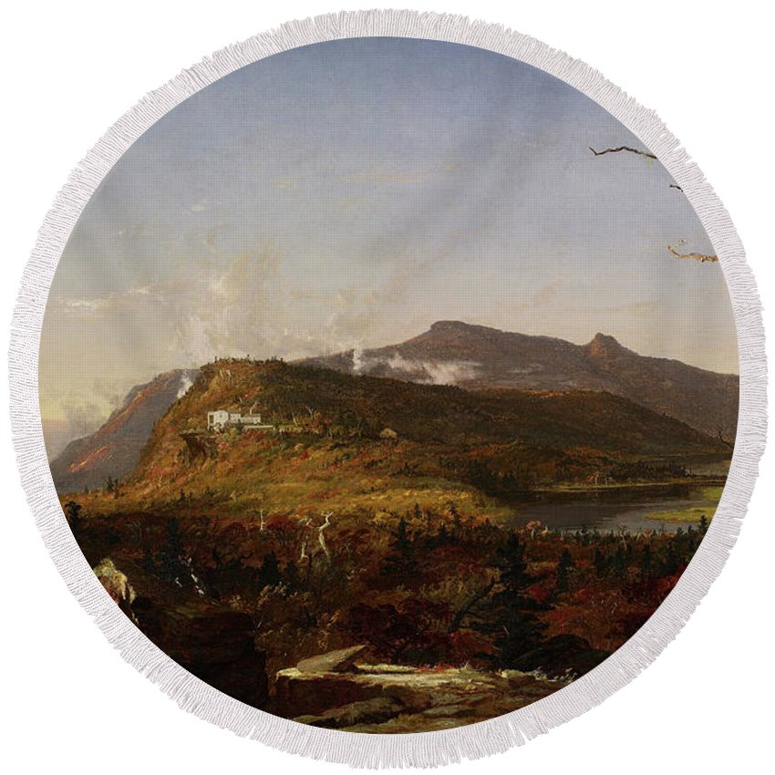 Catskill Mountain House Round Beach Towel featuring the painting Catskill Mountain House by Jasper Francis Cropsey