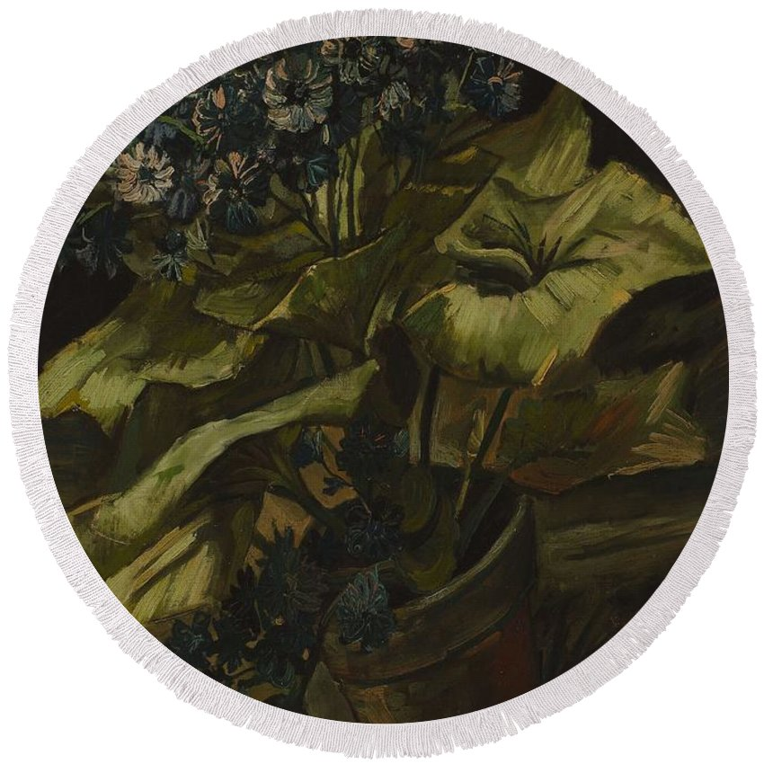 Vincent-van-gogh Round Beach Towel featuring the painting Cineraria by Vincent van Gogh