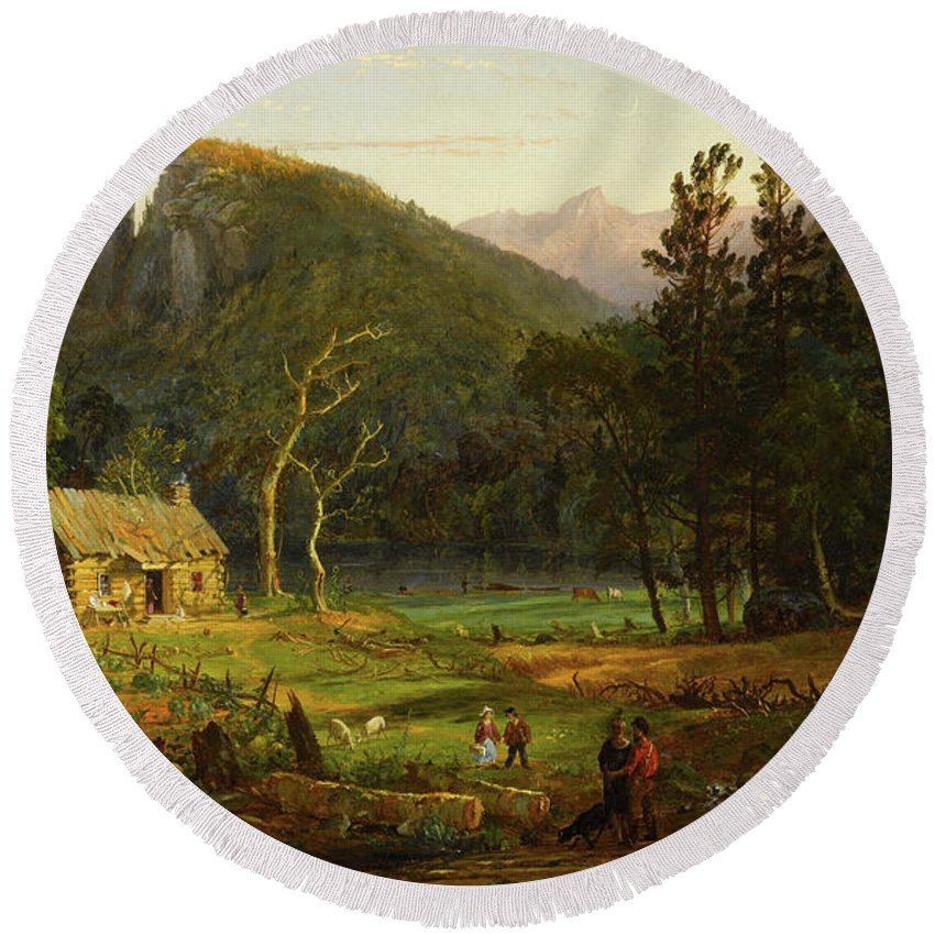 Eagle Cliff Round Beach Towel featuring the painting Eagle Cliff, Franconia Notch, New Hampshire by Jasper Francis Cropsey