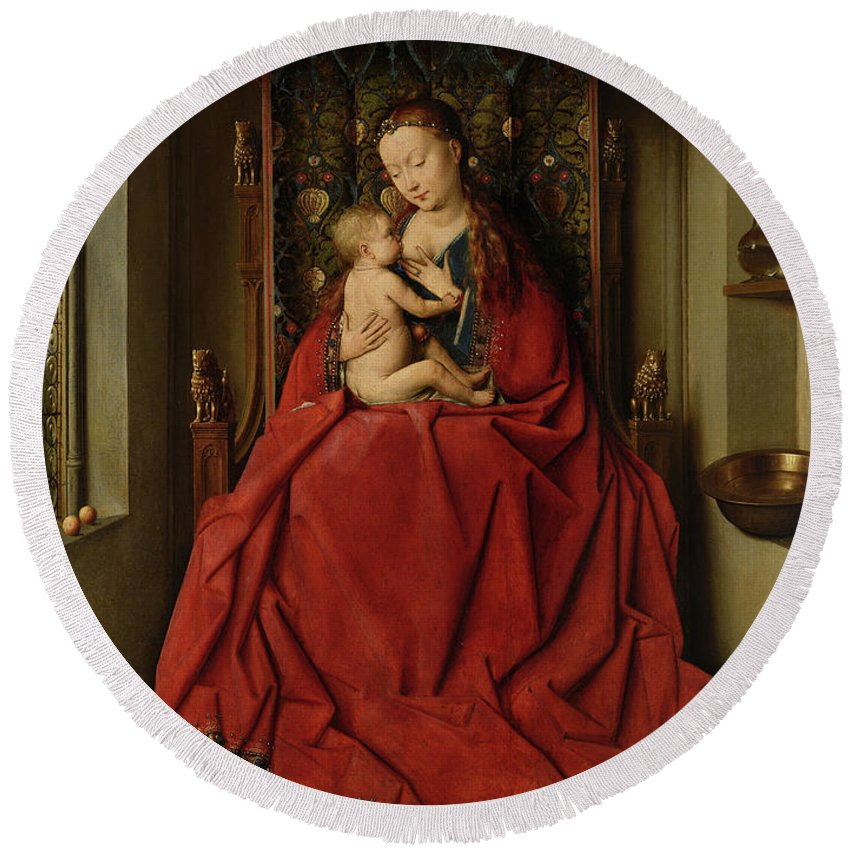 Jan Van Eyck Round Beach Towel featuring the painting Lucca Madonna by Jan van Eyck