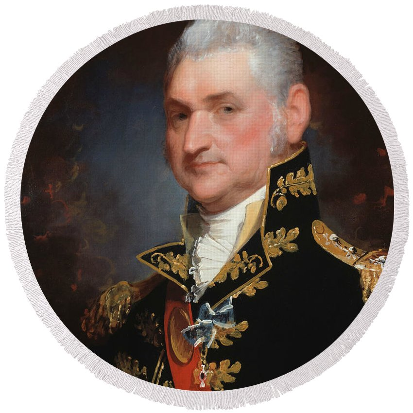 19th Century Art Round Beach Towel featuring the painting Major-general Henry Dearborn by Gilbert Stuart