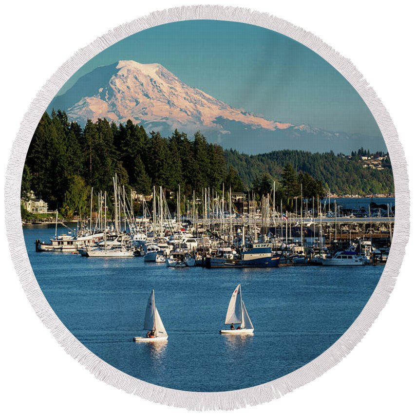 Sailboats At Gig Harbor Marina With Mount Rainier In The Background Round Beach Towel featuring the photograph Sailboats At Gig Harbor Marina With Mount Rainier In The Background by Yefim Bam