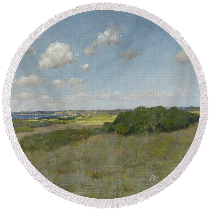 America Round Beach Towel featuring the painting Sunlight And Shadow, Shinnecock Hills by William Merritt Chase