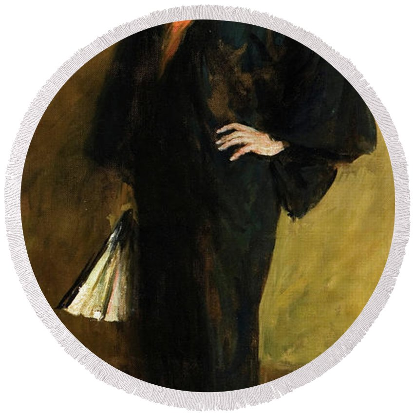 America Round Beach Towel featuring the painting The Blue Kimono by William Merritt Chase