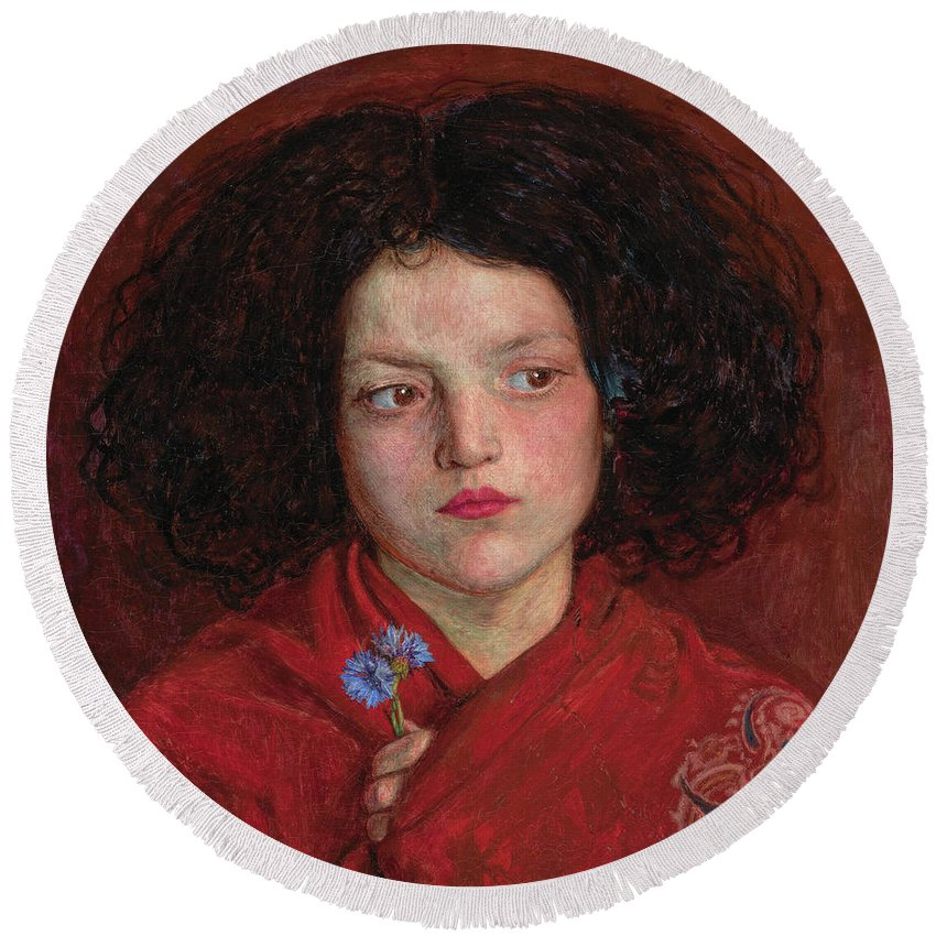 British Round Beach Towel featuring the painting The Irish Girl by Ford Madox Brown