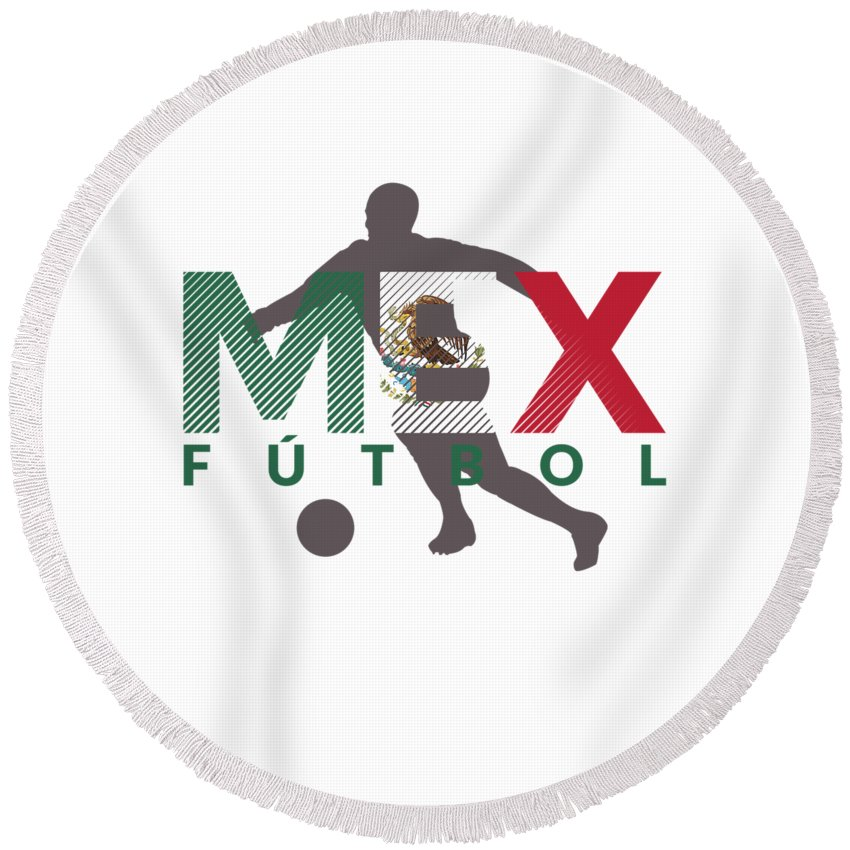 2018-soccer Round Beach Towel featuring the digital art 2018 Soccer Cup Mexico Flag Mex Championship Iso by Henry B