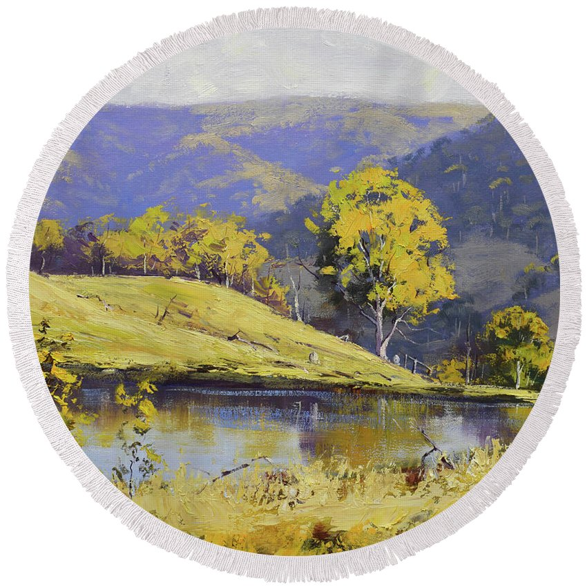 Rural Round Beach Towel featuring the painting Summer Landscape by Graham Gercken