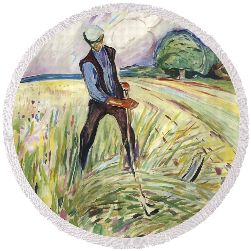 Edvard Munch Round Beach Towel featuring the painting The Haymaker by Edvard Munch
