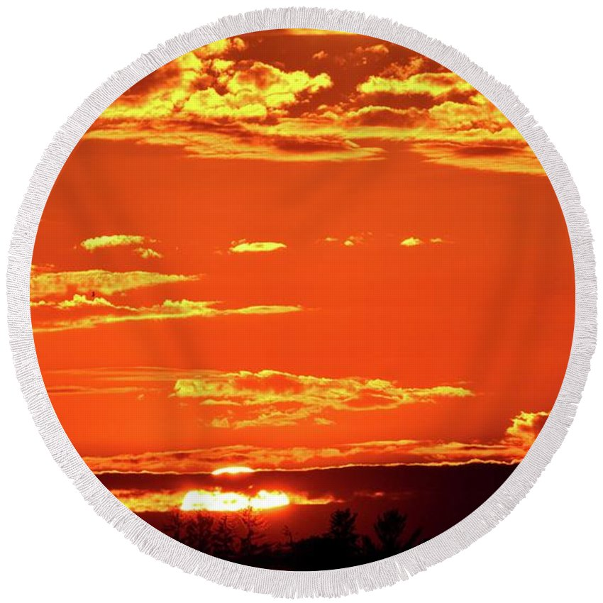 Abstract Round Beach Towel featuring the digital art Sunset Reflection by Lyle Crump
