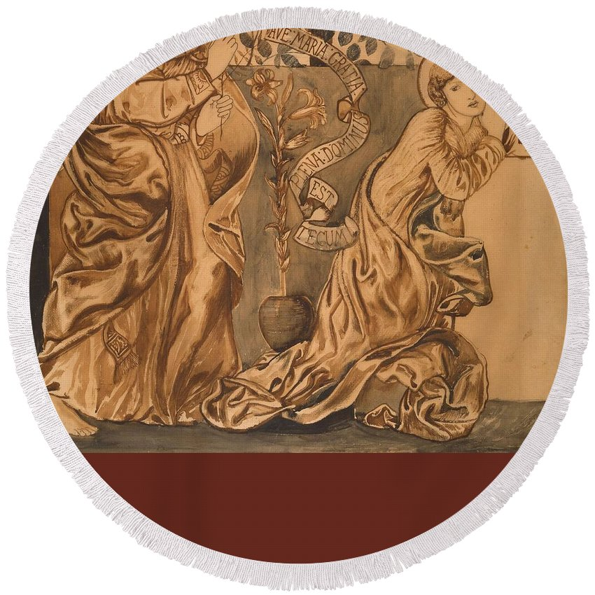 The Annunciation Round Beach Towel featuring the painting The Annunciation by Edward Burne-Jones