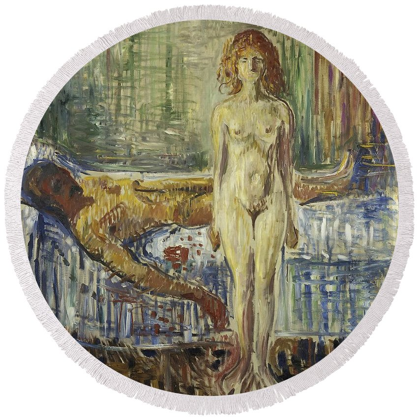Edvard Munch Round Beach Towel featuring the painting The Death Of Marat II by Edvard Munch