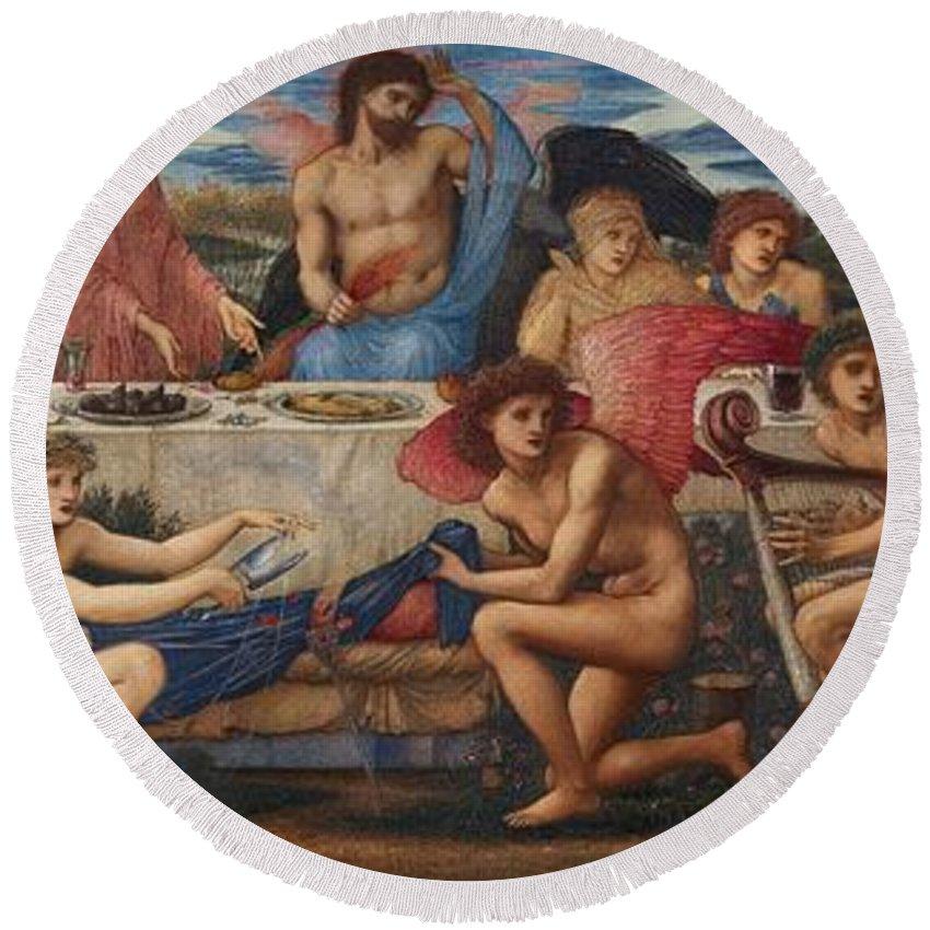 The Feast Of Peleus Round Beach Towel featuring the painting The Feast Of Peleus by Edward Burne-Jones