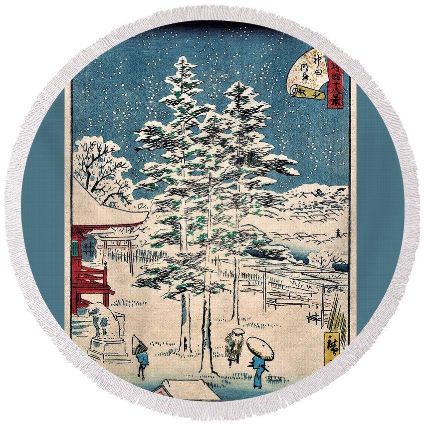 Utagawa Hiroshige Round Beach Towel featuring the painting 48 Famous Views Of Edo - Kanda Temple by Utagawa Hiroshige
