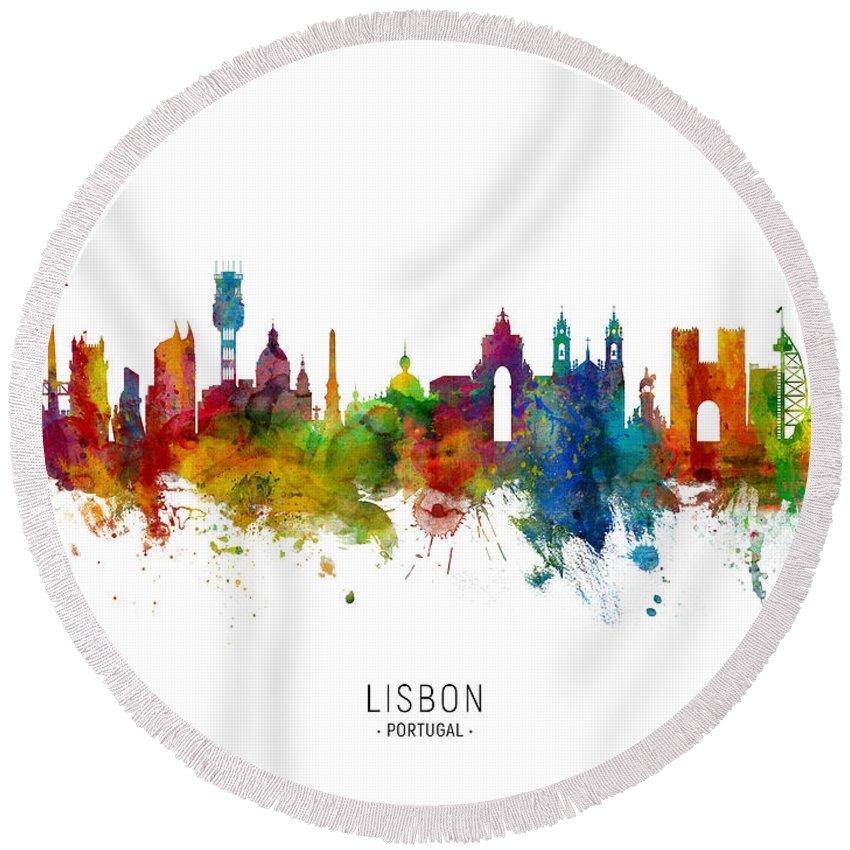 Lisbon Round Beach Towel featuring the digital art Lisbon Portugal Skyline by Michael Tompsett