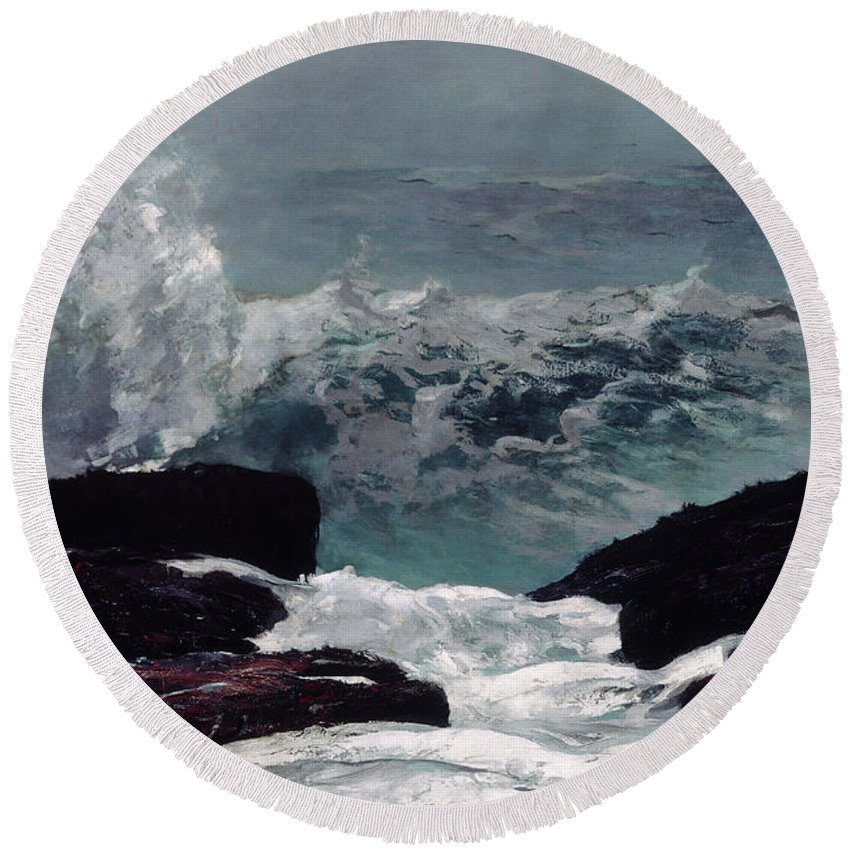 Winslow Homer Round Beach Towel featuring the painting Maine Coast by Winslow Homer