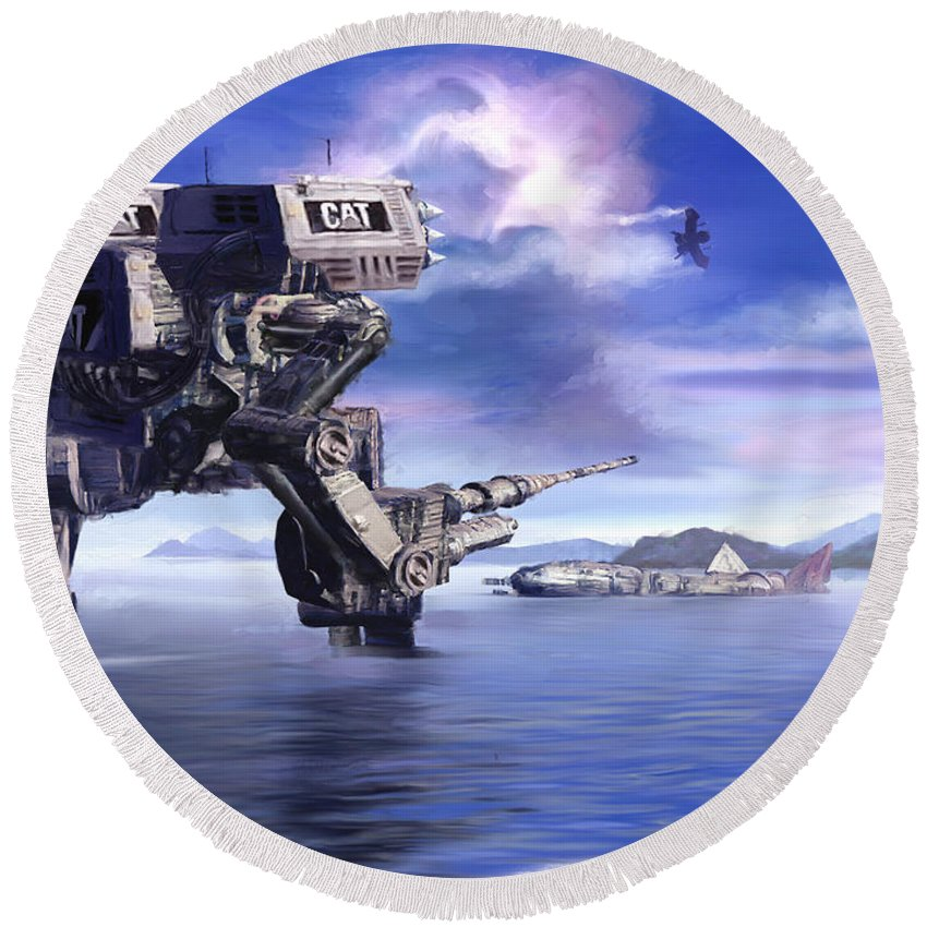 Science Fiction Round Beach Towel featuring the mixed media 501st Mech Defender by Curtiss Shaffer