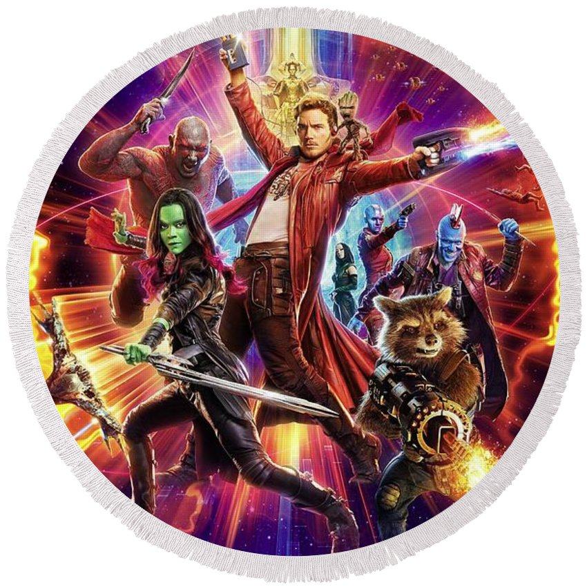 Guardians Of The Galaxy Round Beach Towel featuring the digital art Guardians Of The Galaxy by Geek N Rock