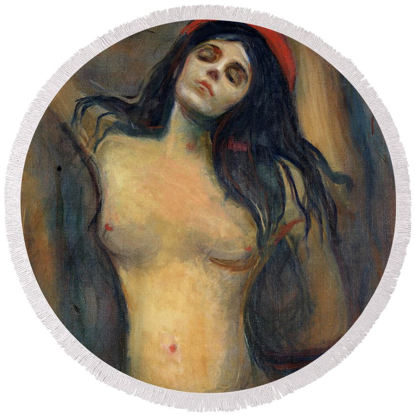Edvard Munch Round Beach Towel featuring the painting Madonna by Edvard Munch