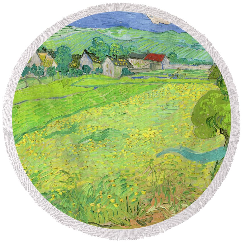 Van Gogh Round Beach Towel featuring the painting View Of Vessenots Near Auvers by Vincent Van Gogh