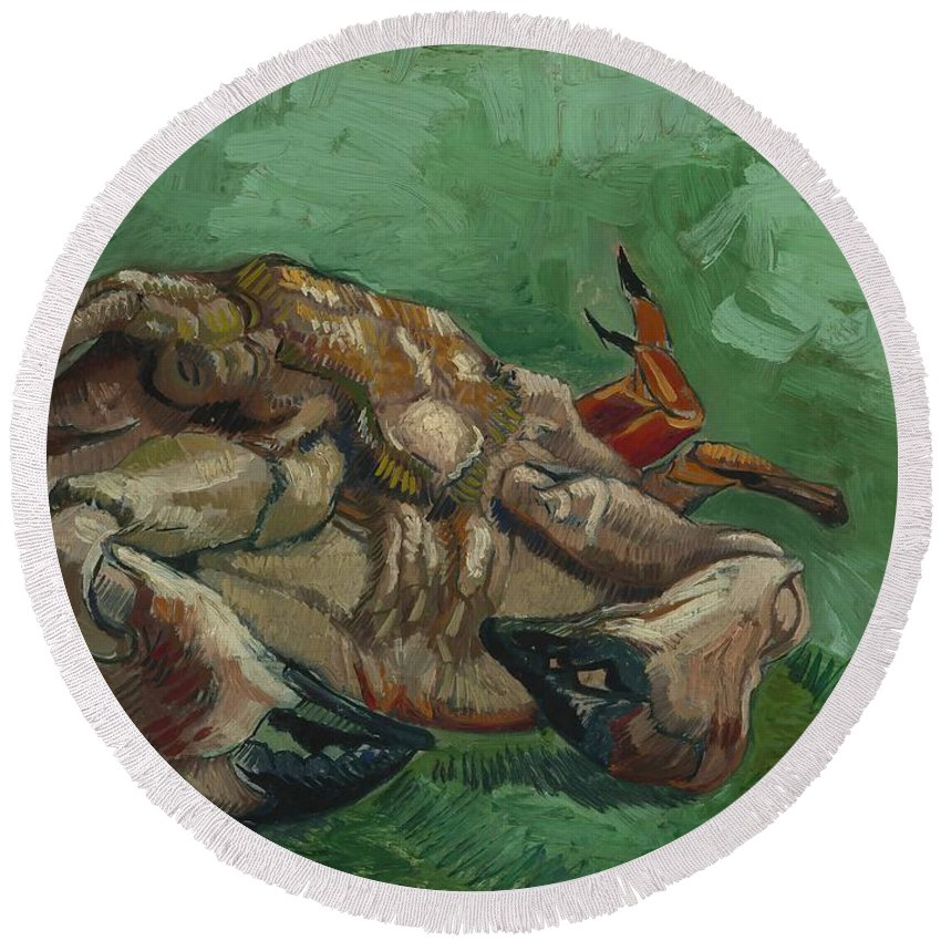 Vincent-van-gogh Round Beach Towel featuring the painting A Crab On Its Back by Vincent van Gogh