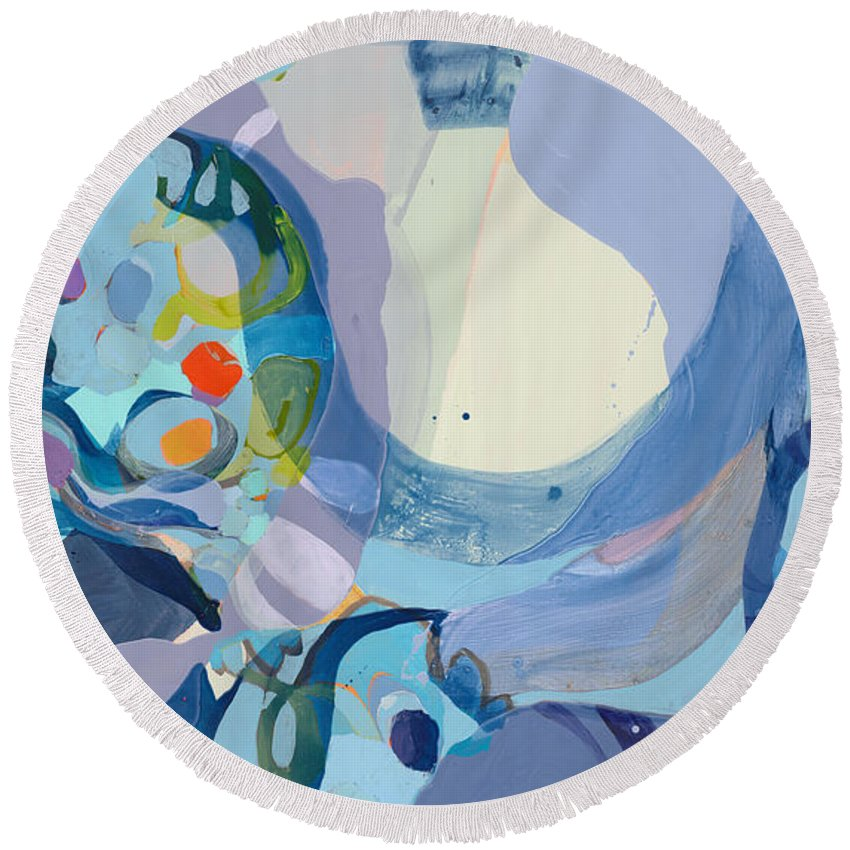 Abstract Round Beach Towel featuring the painting 70 Degrees by Claire Desjardins