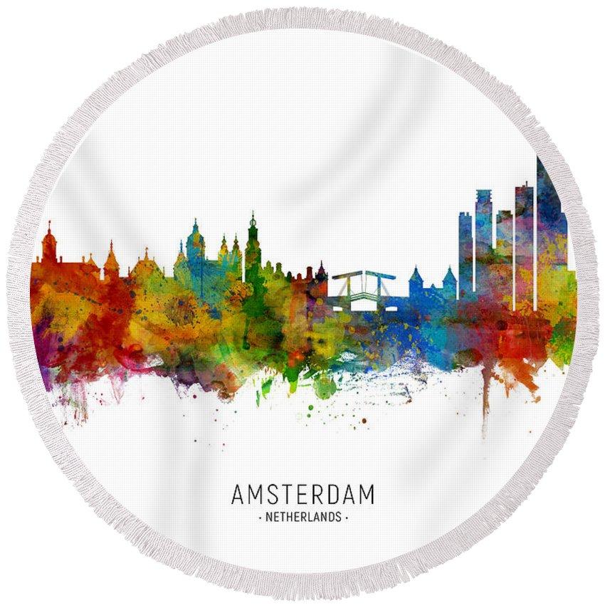 Amsterdam Round Beach Towel featuring the digital art Amsterdam The Netherlands Skyline 8 by Michael Tompsett