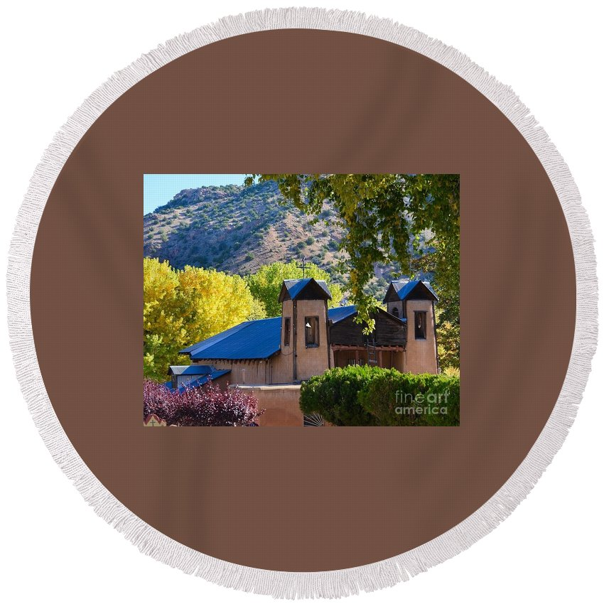 Santuario De Chimayo Round Beach Towel featuring the photograph Untitled by Deb Cawley