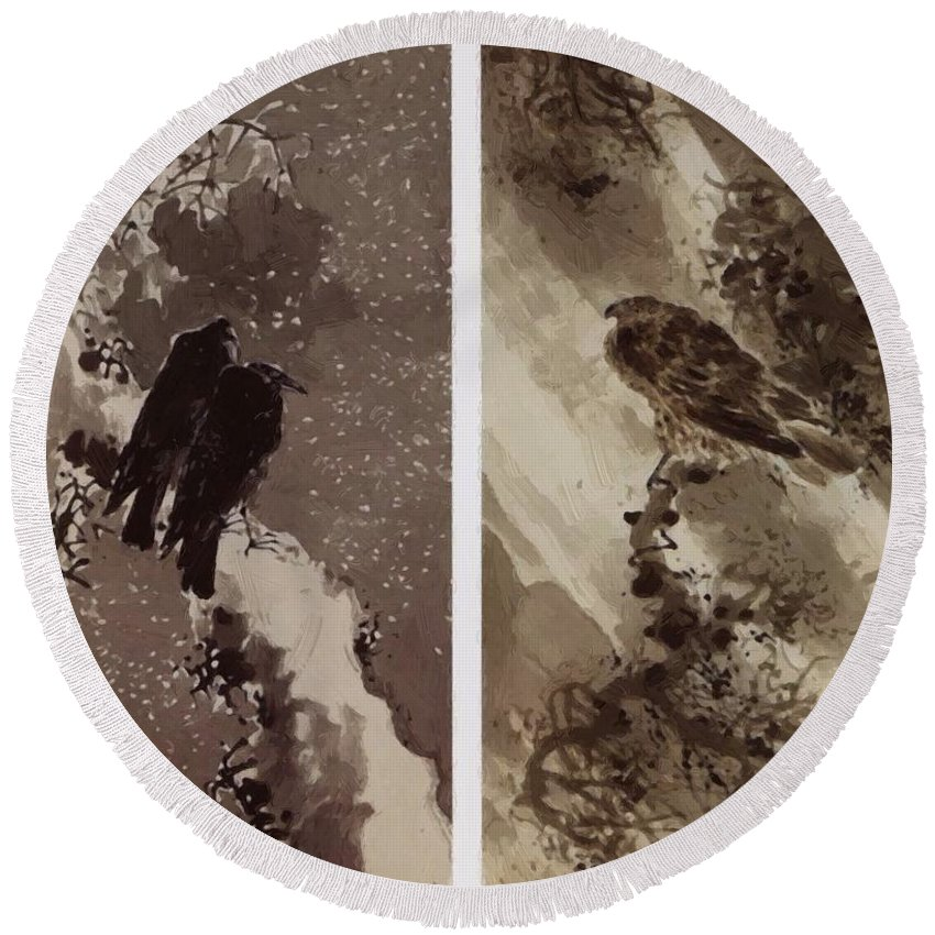 A Round Beach Towel featuring the painting A Black Hawk And Two Crows by Buson Yosa