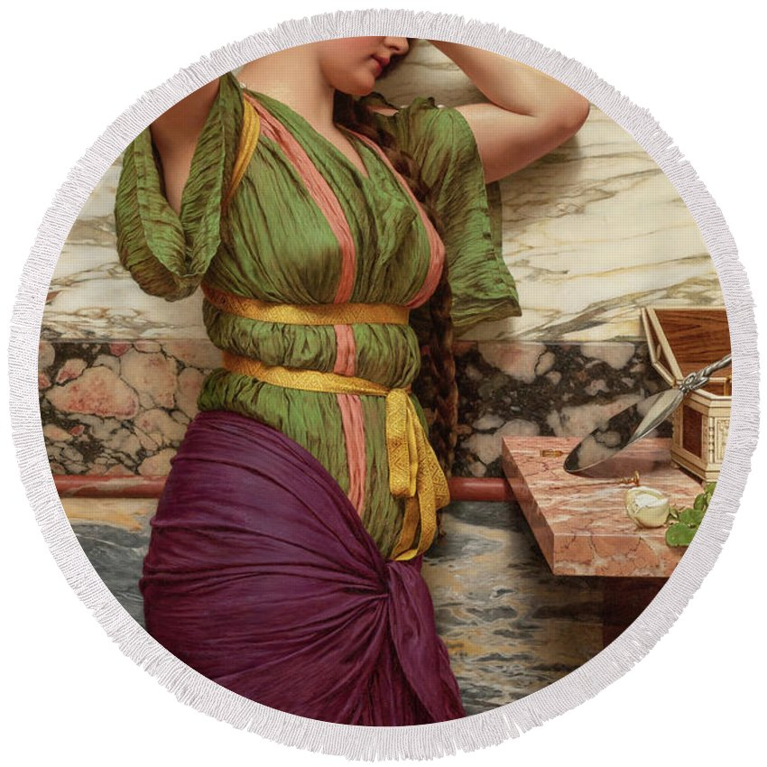John William Godward Round Beach Towel featuring the painting A Fair Reflection, 19th Century by John William Godward