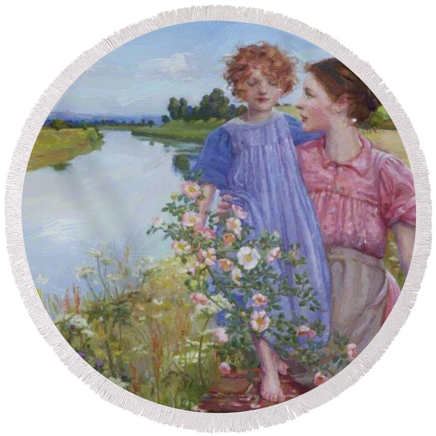 A Round Beach Towel featuring the painting A Mother And Child By A River With Wild Roses 1919 by Butler Mildred Anne