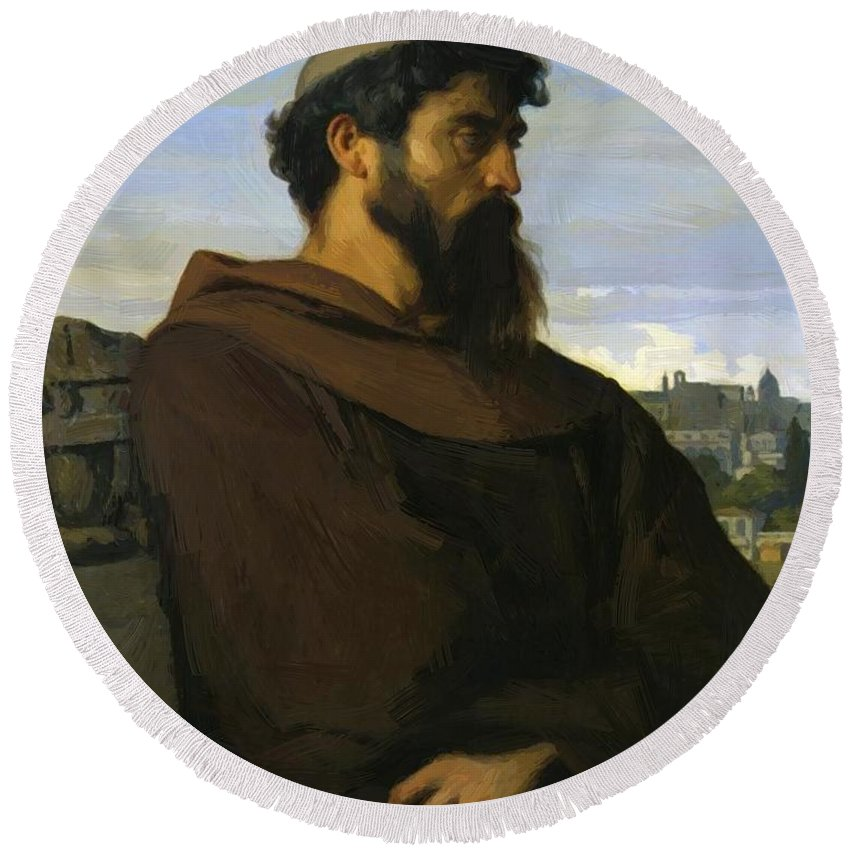 A Round Beach Towel featuring the painting A Thinker A Young Roman Monk by Cabanel Alexandre