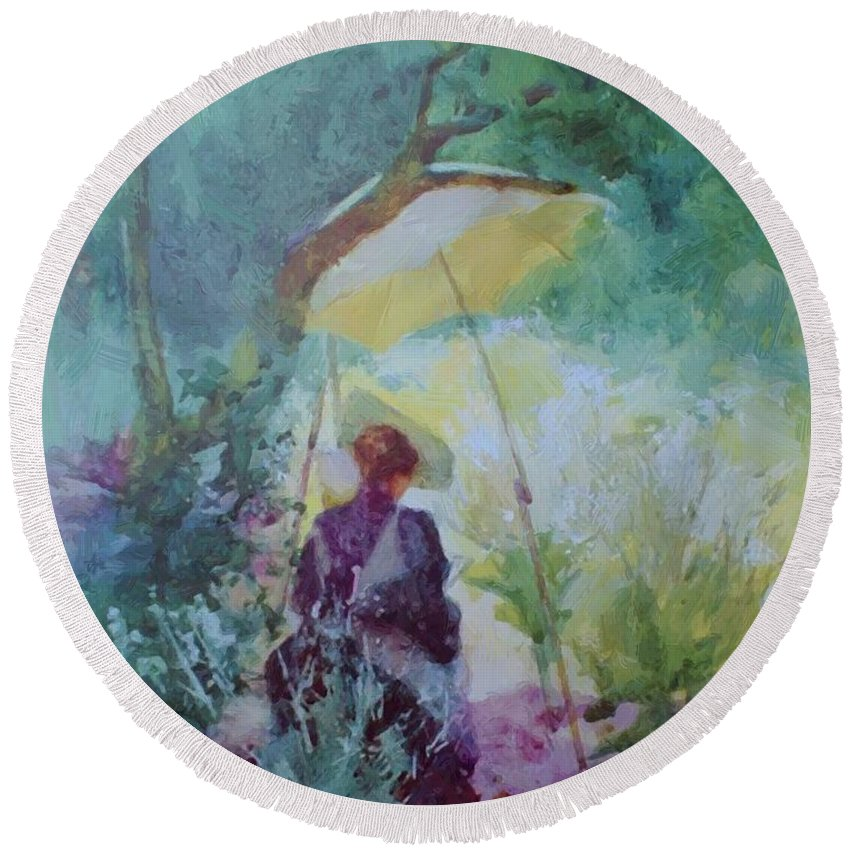 A Round Beach Towel featuring the painting A Woman Sketching In A Glade by Butler Mildred Anne